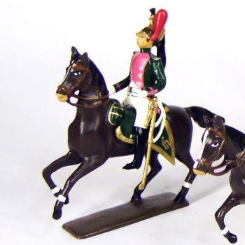 officier du 17e rgt de dragons (dragons roses) à cheval