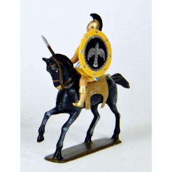 cavalier grec avec lance, cape bleue