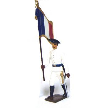 drapeau des chasseurs alpins en tenue d'hiver (blanc)