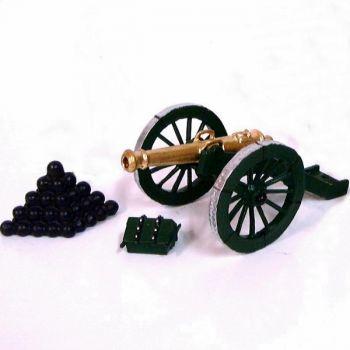 canon Gribeauval, tas de boulet, caisson et seau
