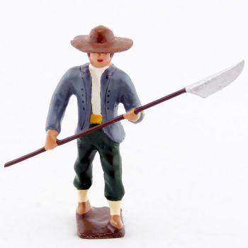 Vendéen (ou Chouan) marchant avec lance entre les mains