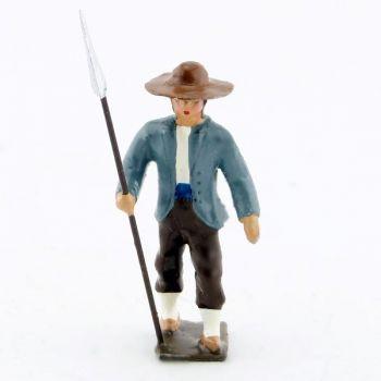 Vendéen (ou Chouan) marchant avec lance à la main