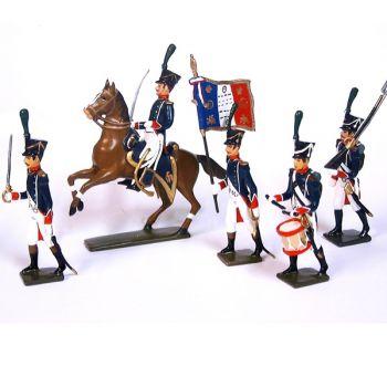 ensemble de 5 figurines à pied et un officier à cheval des tirailleurs-chasseurs