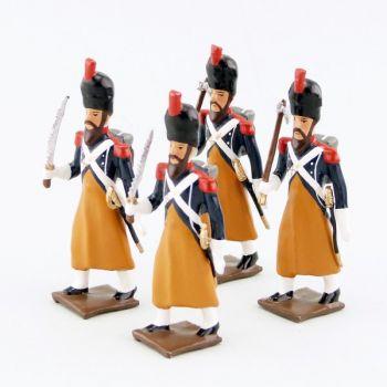 sapeurs du 17e Rgt d'Infanterie légère, ensemble de 4 figurines