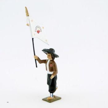 porte-drapeau de l'Armée catholique et royale de Vendée à l'assaut