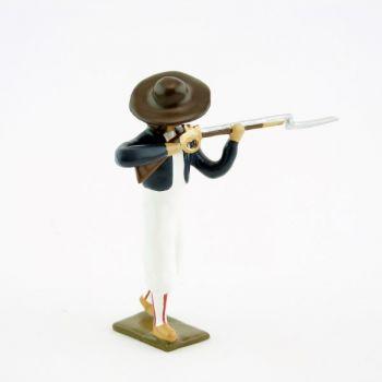 soldat de l'Armée catholique et royale de Vendée au feu, fusil en joue