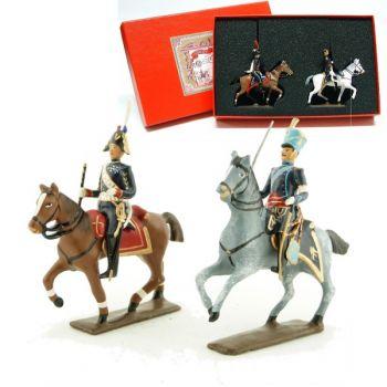 coffret de 2 figurines : maréchal Augereau et son aide de camp