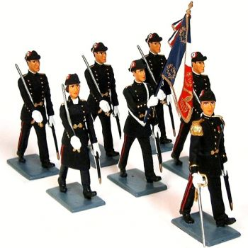 École Polytechnique, ensemble de 7 figurines