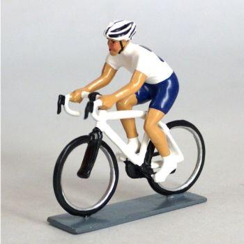 cycliste contemporain, maillot bleu et blanc
