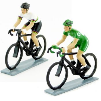 ensemble de 2 cyclistes contemporains : champion du Monde et maillot vert