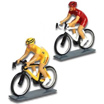 ensemble de 2 cyclistes contemporains : maillot jaune et maillot rouge