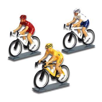ensemble de 3 cyclistes contemporains : maillot jaune, maillot rouge, maillot bleu et blanc