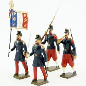 Infanterie de ligne, basquine garance (Napoléon III), ensemble de 4 figurines