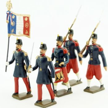 Infanterie de ligne, basquine garance (Napoléon III), ensemble de 5 figurines