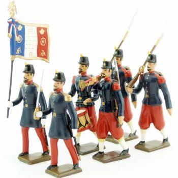 Infanterie de ligne, basquine garance (Napoléon III), ensemble de 6 figurines