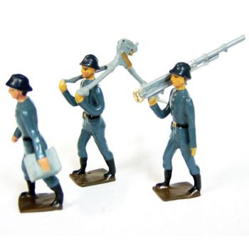 ensemble de 3 artilleurs portant mitrailleuse en pièces détachées