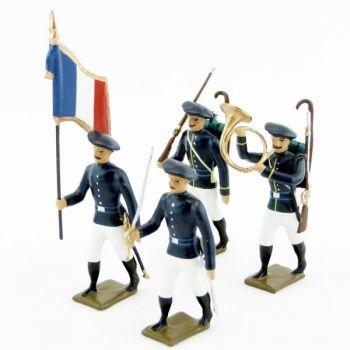 Chasseurs alpins en tenue d'ete, pantalon blanc - ensemble de 4 figurines