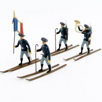 Chasseurs alpins en bleu, à skis - ensemble de 4 figurines