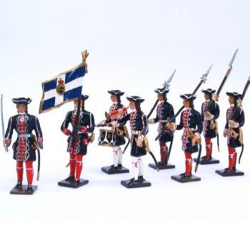 Grenadiers de la garde française (louis xiv), ensemble de 8 figurines