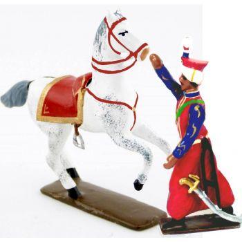 Roustan (1780-1845), mamelouk de Napoléon, tenant son cheval (2 p.)