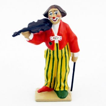 grand clown avec perruque jouant du violon