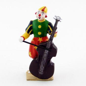 grand clown avec chapeau, jouant de la basse (violoncelle)