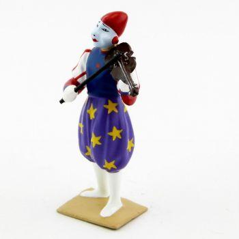 grand clown avec chapeau, jouant du violon