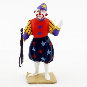 grand clown avec chapeau, jouant du banjo