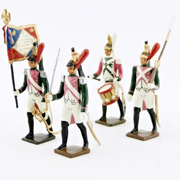 "Ensemble de 4 figurines ""17ème rgt de dragons (dragons roses)"""