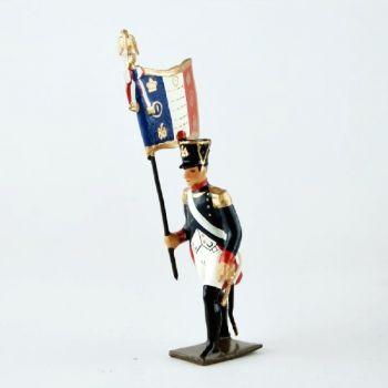 drapeau de l'infanterie de ligne, pied gauche en avant