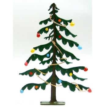 Sapin de Noël (avec guirlandes et boules) (h. 9,7 cm)