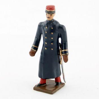 officier de l'infanterie de ligne en capote, pantalon garance