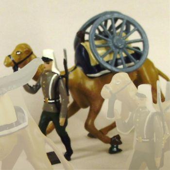 légionnaire en Tunique tirant un dromadaire avec roues de canon