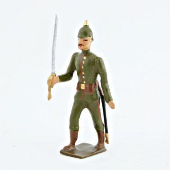 officier de l'infanterie prussienne, tunique reseda (kaki), casque à pointe (