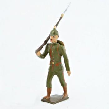fantassin de l'infanterie prussienne, tunique reseda (kaki), casque à pointe (
