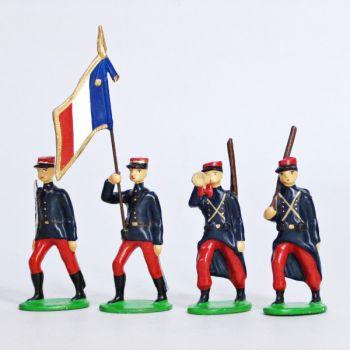 Infanterie de ligne en kepi (1914), ensemble de 4 figurines