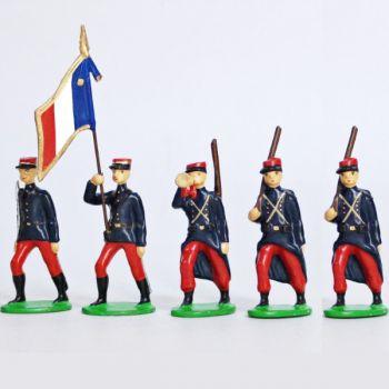 Infanterie de ligne en kepi (1914), ensemble de 5 figurines