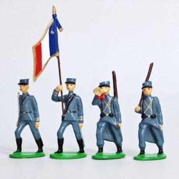 Infanterie de ligne en kepi, bleu horizon (1915), ensemble de 4 figurines