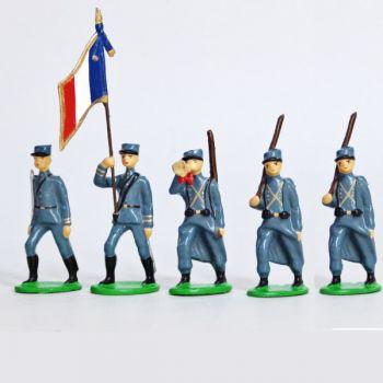 Infanterie de ligne en kepi, bleu horizon (1915), ensemble de 5 figurines