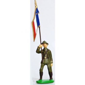 Drapeau - Infanterie De Ligne, Casque Adrian, Tenue Kaki (1939-1945)