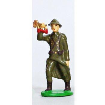 Clairon - Infanterie De Ligne, Casque Adrian, Tenue Kaki (1939-1945)