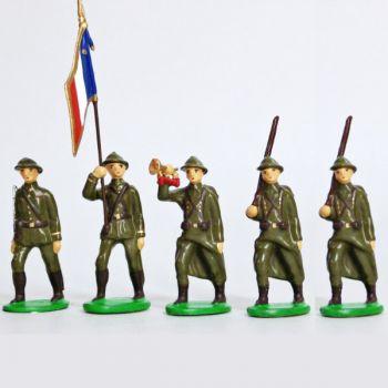 Infanterie de ligne, casque adrian, tenue kaki (1939-1945), ensemble de 5 figuri