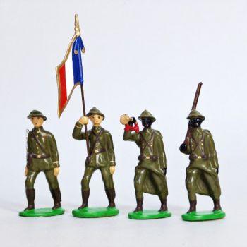 Infanterie sénégalaise, casque adrian (1935-1945), ensemble de 4 figurines