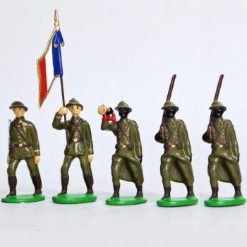 Infanterie sénégalaise, casque adrian (1935-1945), ensemble de 5 figurines