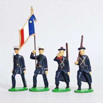 Fusiliers Marins En Bleu, ensemble de 4 figurines