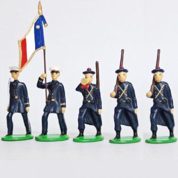 Fusiliers Marins En Bleu, ensemble de 5 figurines