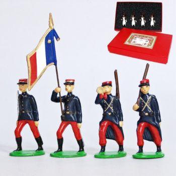 Infanterie de ligne en kepi (1914), coffret de 4 figurines