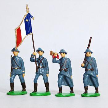 Infanterie de ligne, casque adrian, bleu horizon (1915), ensemble de 4 figurines