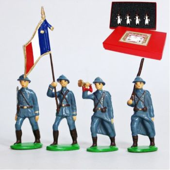 Infanterie de ligne, casque adrian, bleu horizon (1915), coffret de 4 figurines