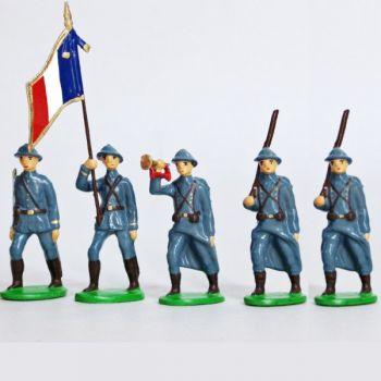 Infanterie de ligne, casque adrian, bleu horizon (1915), ensemble de 5 figurines